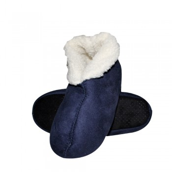 Γυναικεία δερμάτινα slippers με γούνακι