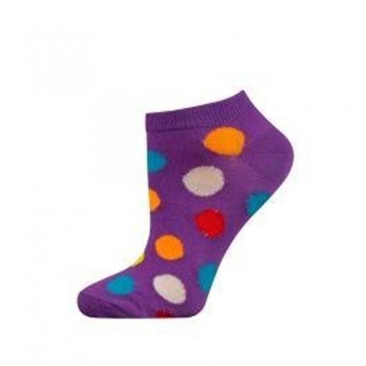 Γυναικεία κοφτή βαμβακερή φωσφοριζέ κάλτσα Soxo πουά