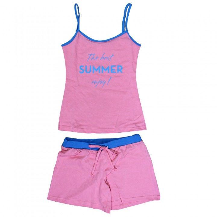 Γυναικεία βαμακερή πυτζάμα τιραντάκι με σορτς The Best Summer φούξια