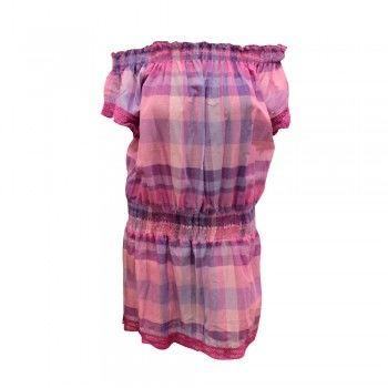 Φόρεμα θαλάσσης βαμβακερό καρό με μανίκι  Bluepoint σε διάφορα χρώματα