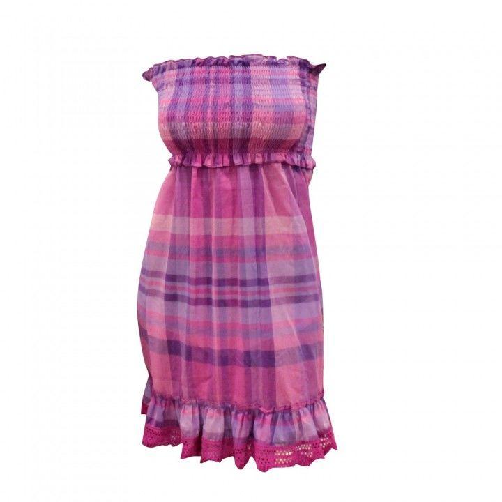 Φόρεμα θαλάσσης βαμβακερό καρό   Bluepoint σε διάφορα χρώματα