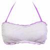 Γυναικείο μαγιό strapless με ανάγλυφο ύφασμα σε λευκό και λιλά για εντυπωσιακές εμφανίσεις στην παραλία!