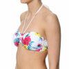 Γυναικείο μαγιό strapless με σούρα στο πλάι Floral White