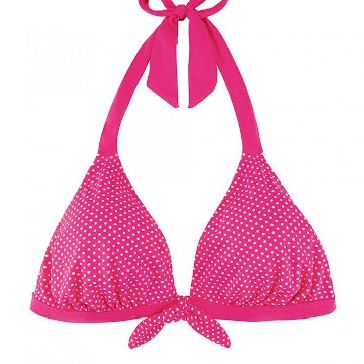 Γυναικείο μαγιό φαρδύ τρίγωνο φούξια με πουά