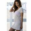 Γυναικείο καφτάνι θαλάσσης δίχτυ λευκό κοντομάνικο για εντυπωσιακές εμφανίσεις στην παραλία!