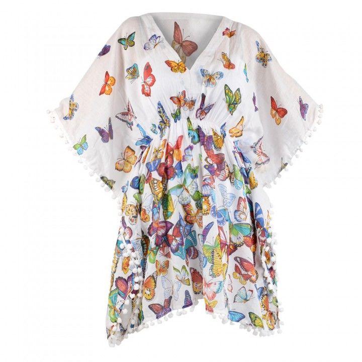 Καφτάνι γυναικείο με σχέδιο πεταλούδες για ξεχωριστές εμφανίσεις στην παραλία