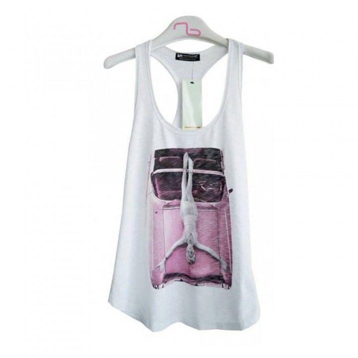 Γυναικεία μπλούζα αμάνικη Noobass με παρτή πλάτη σε διάφορα χρώματα