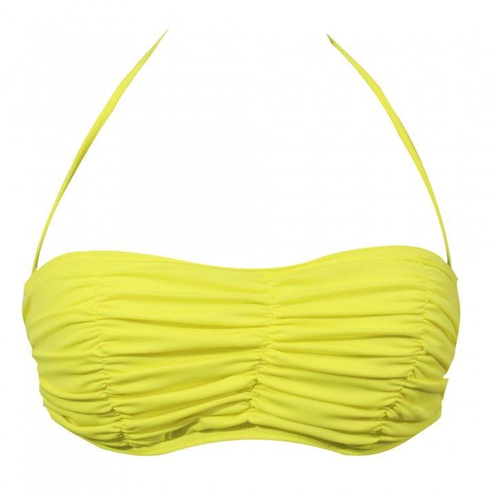 Γυναικείο μαγιό strapless με ενίσχυση και σούρα Cup B σε διάφορα χρώματα