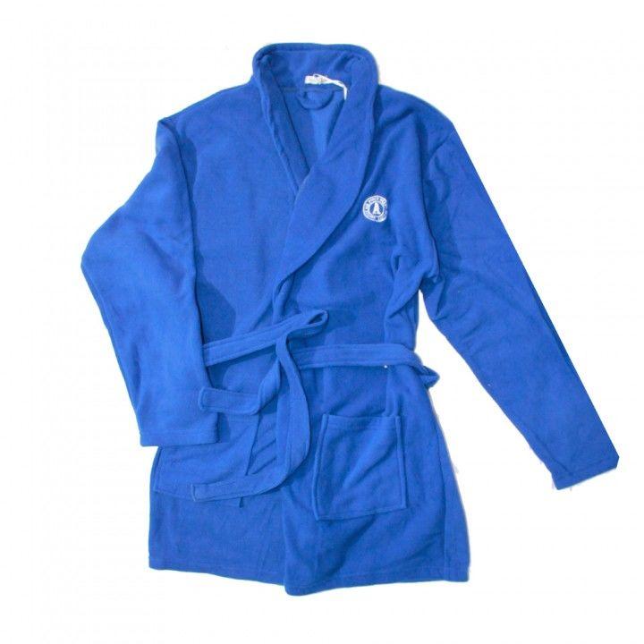 Ανδρική σταυρωτή fleece ρόμπα σε μπλέ χρώμα