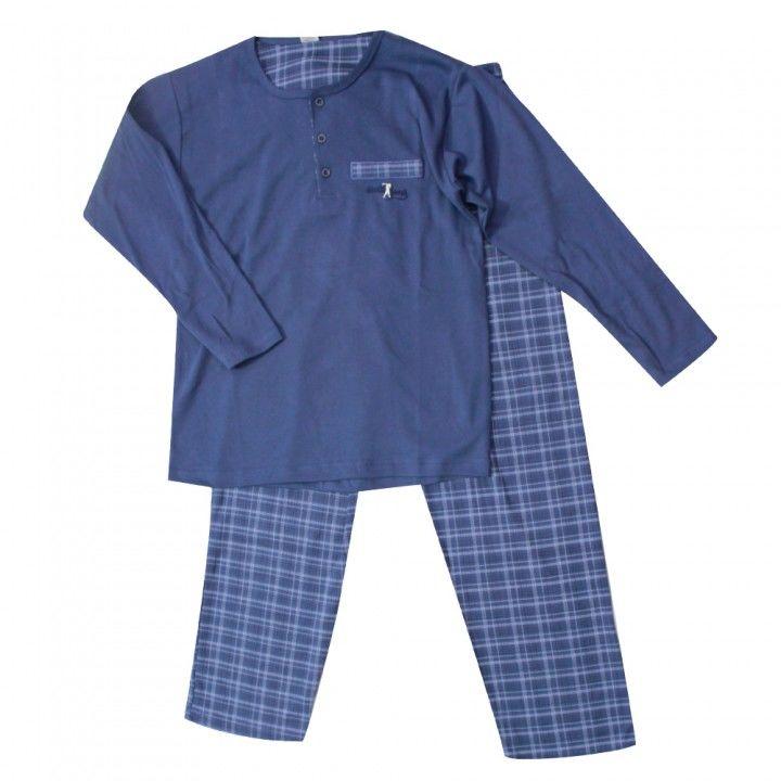 Ανδρική βαμβακερή πυτζάμα με καρό παντελόνι σε μπλέ  χρώμα