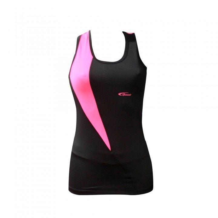Αθλητικό μπλουζάκι γυμναστικής Top μαύρο με φούξια