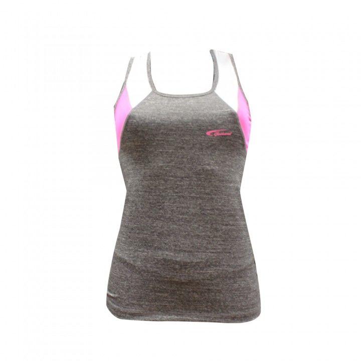 Αθλητικό μπλουζάκι γυμναστικής Top γκρι μελανζέ με ροζ λεπτομέρειες