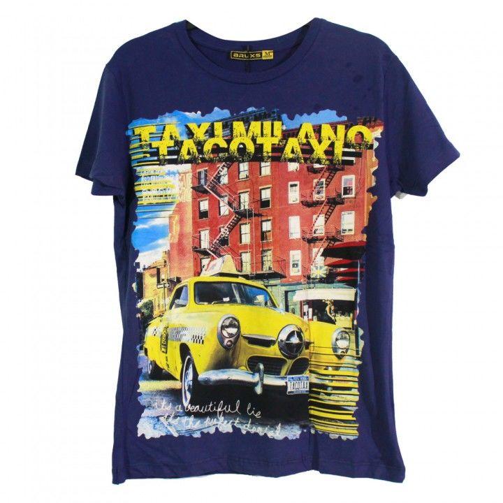 Ανδρική μπλούζα κοντό μανίκι σχέδιο Taxi μπλέ