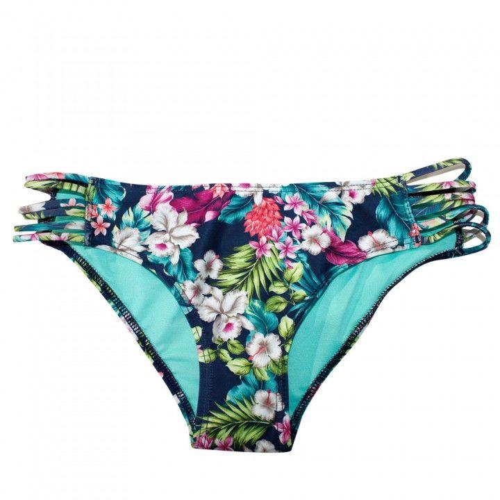 Γυναικείο μαγιό slip Blue Floral με λάστιχα στο πλάι Blu4u