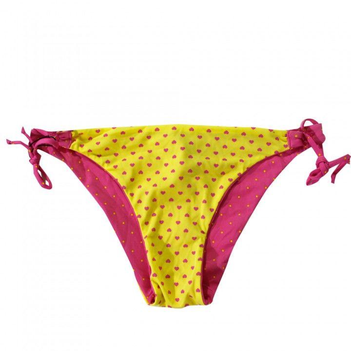 Γυναικείο μαγιό σλιπ δετό διπλής όψης ροζ κίτρινο Small