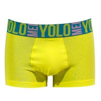 Ανδρικό εσώρουχο μπόξερ κίτρινο τυρκουάζ Mei σχέδιο Y.O.L.O.