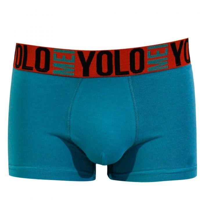 Ανδρικό εσώρουχο μπόξερ τυρκουάζ πορτοκαλί Mei σχέδιο Y.O.L.O.