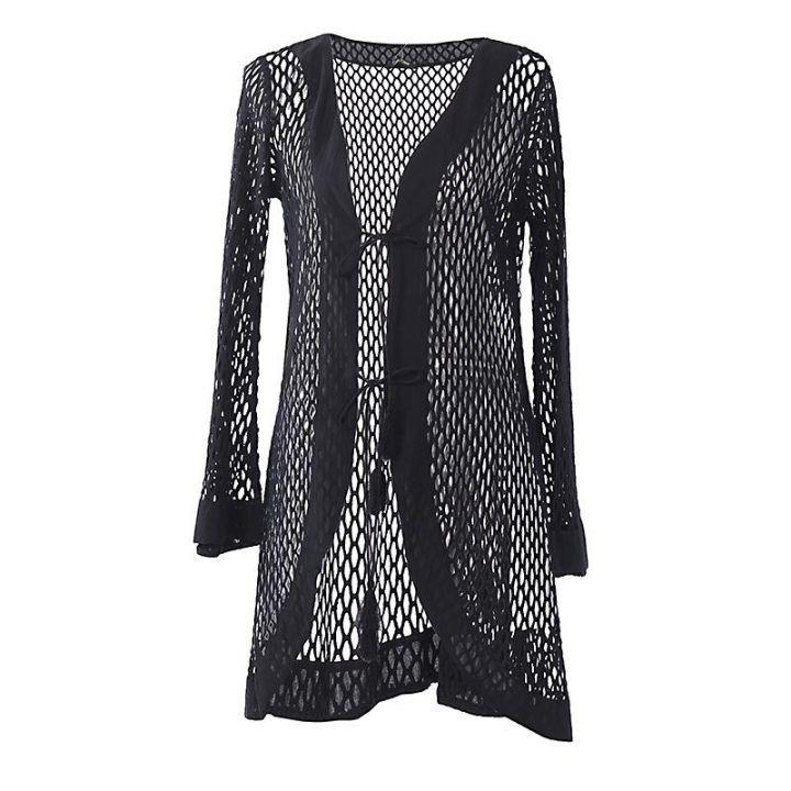 Γυναικείο κιμονό μαύρο πλέγμα