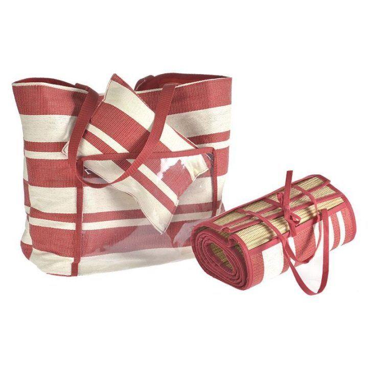 Γυναικεία ψάθινη τσάντα κόκκινη με ψάθα και μαξιλαράκι.