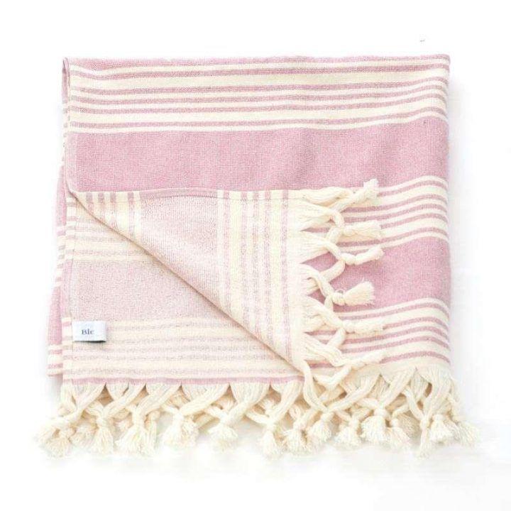 Πετσέτα θαλάσσης  Pestemal ροζ εκρού