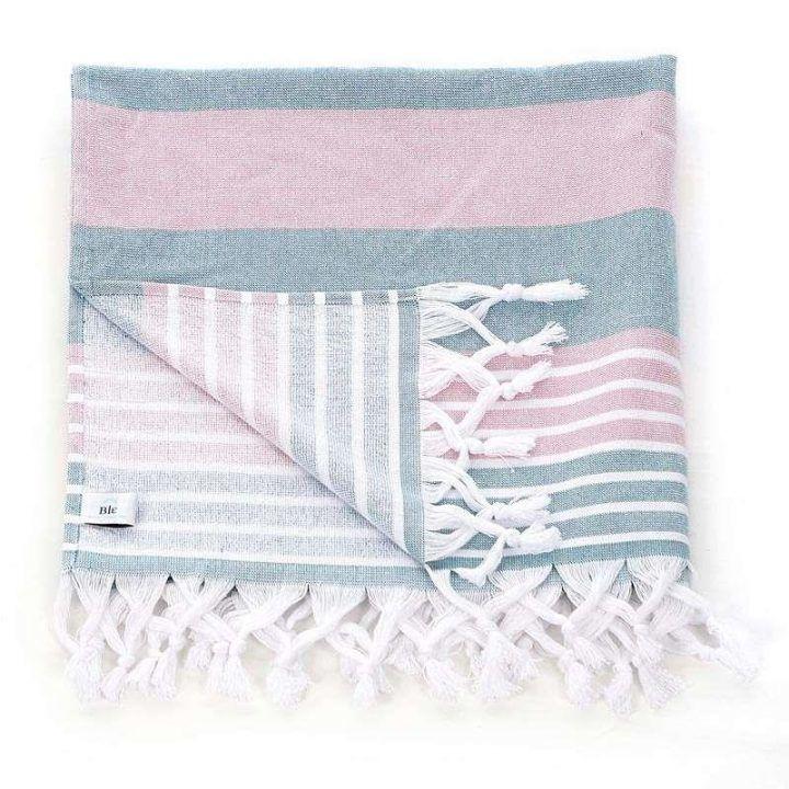 Πετσέτα θαλάσσης Pestemal  ροζ πράσινο με κρόσια ριγέ