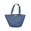 Γυναικεία τσάντα θαλάσσης ψάθινη μπλέ
