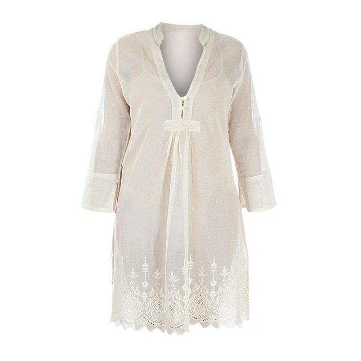 Φόρεμα γυναικείο μπεζ γάζα με δαντέλα