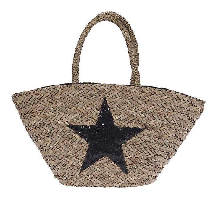 Γυναικεία τσάντα θαλάσσης ψάθινη αστέρι