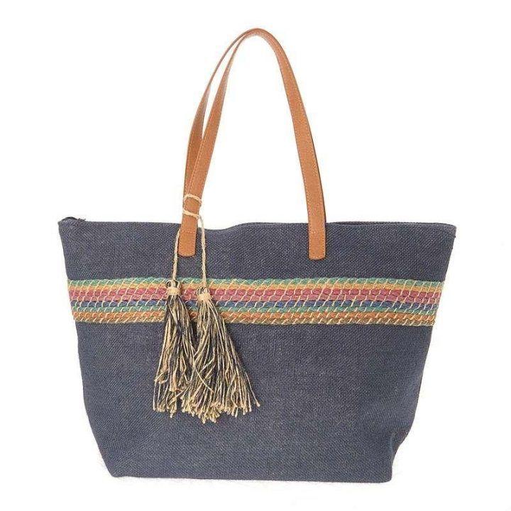 Γυναικεία τσάντα θαλάσσης ψάθινη denim