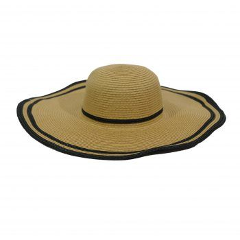 Γυναικείο καπέλο ψάθινο natural μαύρο