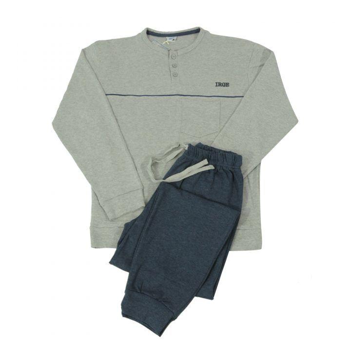 Ανδρική βαμβακερή πυτζάμα με πατιλέτα & τσέπη Irge Grey