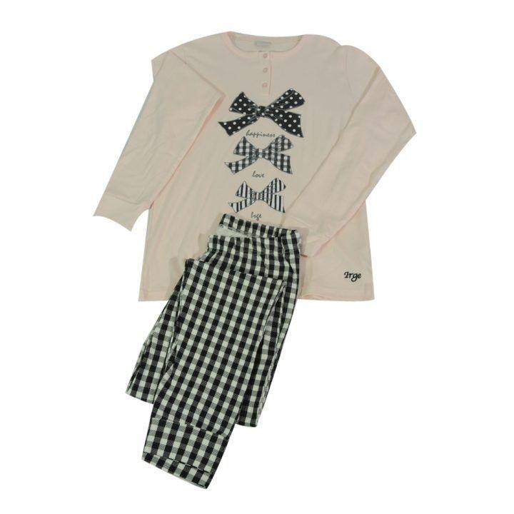 Γυναικεία πυτζάμα Rose με καρό παντελόνι