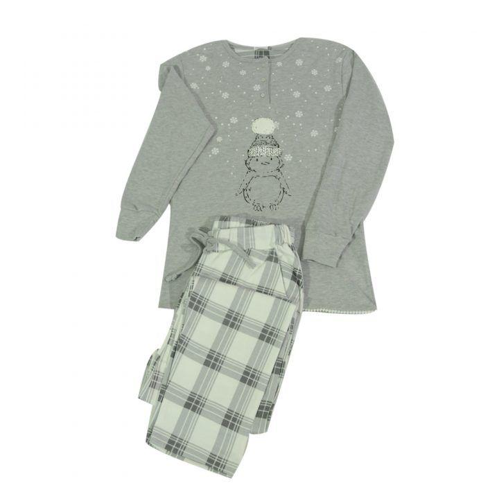 Γυναικεία βαμβακερή πυτζάμα Snowman