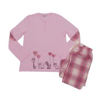Γυναικεία πυτζάμα ροζ καρό Harmony