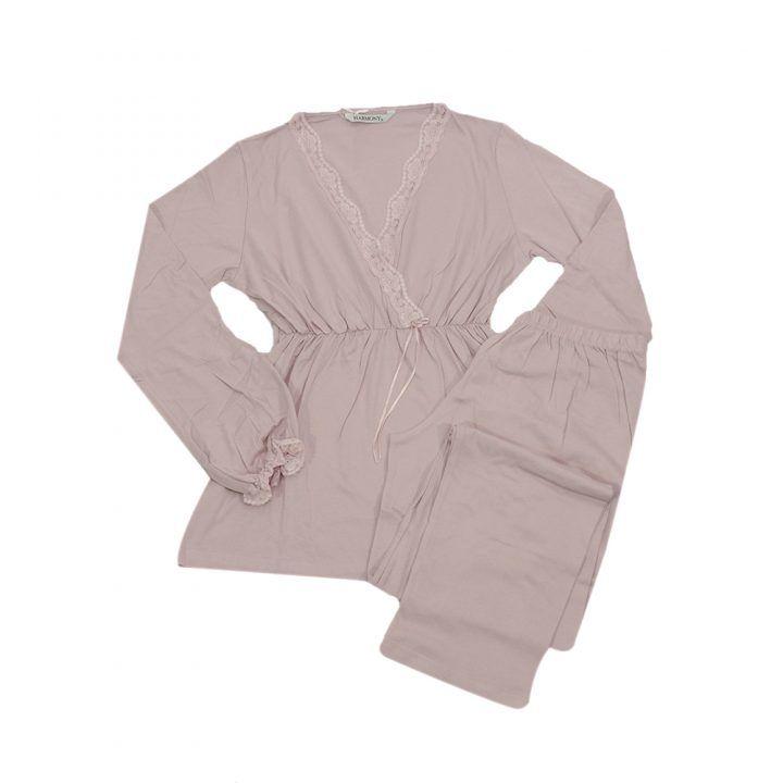 Γυναικεία πυτζάμα ροζ κρουαζέ με δαντέλα Harmony