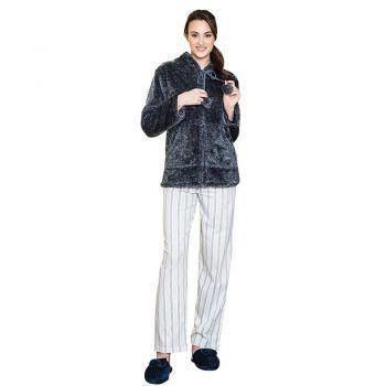 Γυναικεία fleece ρόμπα γκρι Harmony
