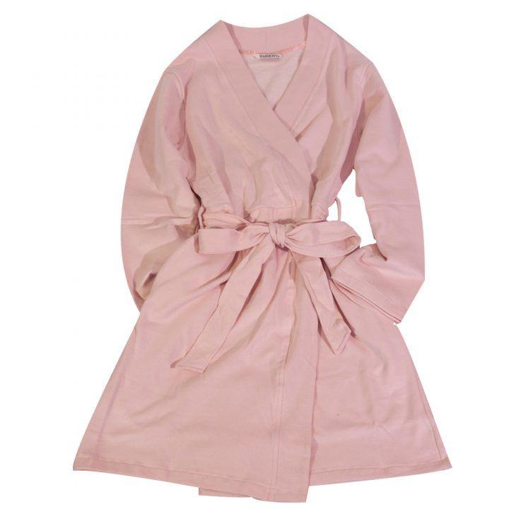 Γυναικεία σταυρωτή  ρόμπα φούτερ ροζ Harmony
