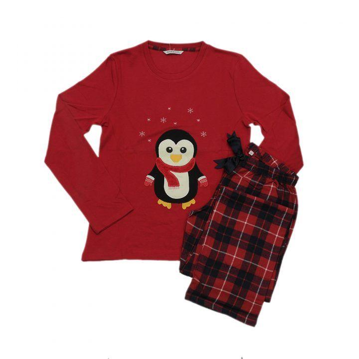 Γυναικεία βαμβακερή πυτζάμα Red Penguin Harmony