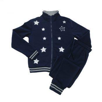 Γυναικεία φόρμα  σετ μπλε με φερμουάρ Stars