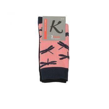Γυναικεία κάλτσα σχέδιο πεταλούδες 3pack σε διάφορα χρώματα