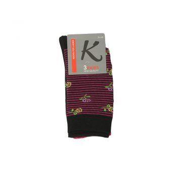 Γυναικεία κάλτσα σχέδιο λουλούδια 3pack σε διάφορα χρώματα