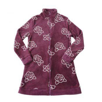 Γυναικεία fleece ρόμπα σε δαμασκηνί χρώμα