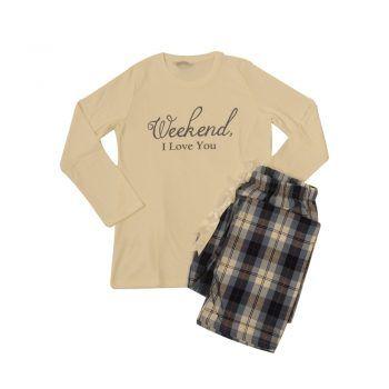 Γυναικεία πυτζάμα Weekend με καρό παντελόνι Harmony