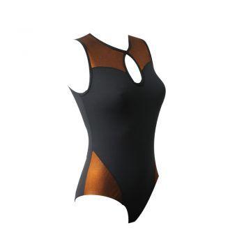 Γυναικείο κορμάκι μαύρο αμάνικο με bronze λεπτομέρειες