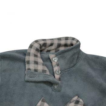 Γυναικεία πυτζάμα fleece με καρό παντελόνι και σχέδιο φίογκο στην μπλούζα