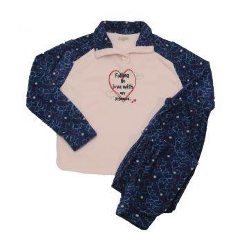 Γυναικεία πυτζάμα fleece σχέδιο Falling in Love μπλε