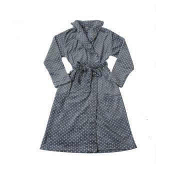 Γυναικεία fleece ρόμπα πουά με σταυρωτό δέσιμο