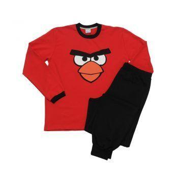 Ανδρική πυτζάμα σχέδιο Angry Birds κόκκινη με μαύρο