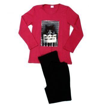 Γυναικεία πυτζάμα Cat φούξια με μαύρο παντελόνι