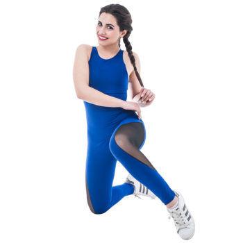 Γυναικεία αθλητική μπλέ ολόσωμη φόρμα με διαφάνεια